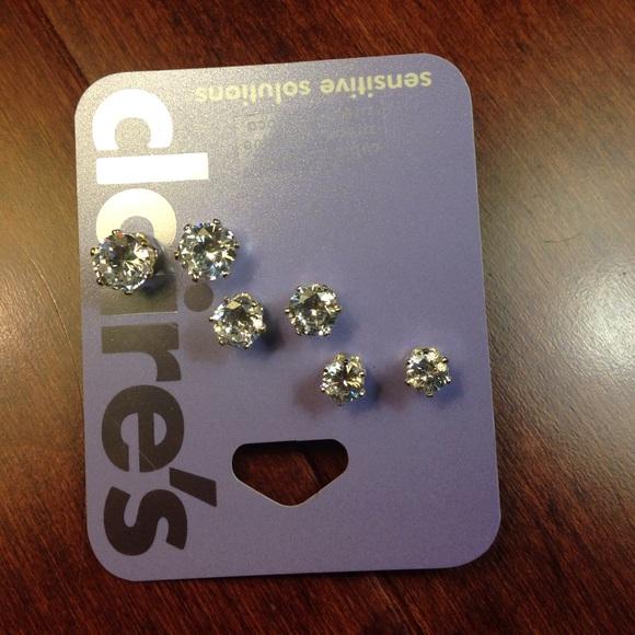 96ebba69ddf9a Sensitive Solution Three Set Diamond Earrings NWT