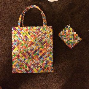 handwoven handbag w/ matching coin purse