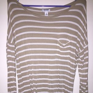 Taupe and white stripe top