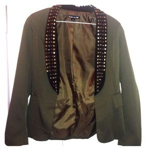 Hunter green studded blazer