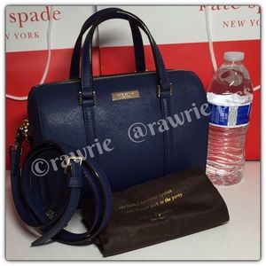 New Kate Spade navy saffiano leather mini Satchel