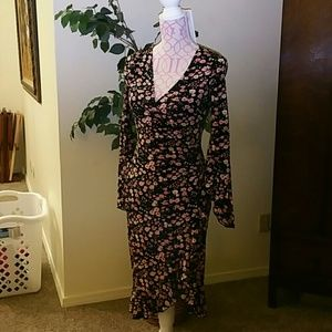 ABS Allen Schwartz Dresses & Skirts - ABS faux wrap jersey stretch dress Petite