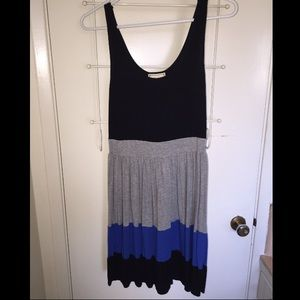 Dresses & Skirts - Black dress with grey and a blue stripe.