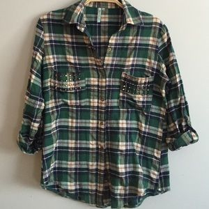 Tops - Green Plaid shirt with Studs