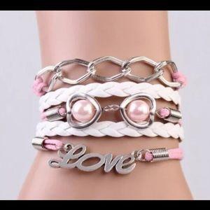 Jewelry - Infinity bracelet love pink statement