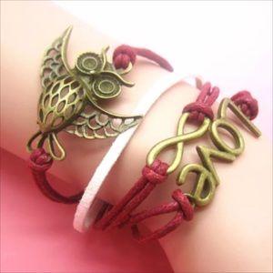Jewelry - Infinity bracelet owl love wings