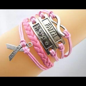 Jewelry - Infinity bracelet cancer awareness hope statement
