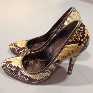 Aldo Brown and Nude Snakeskin Pumps