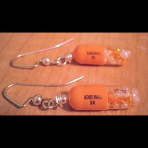"""Motivational Hearing"" adderall earrings"