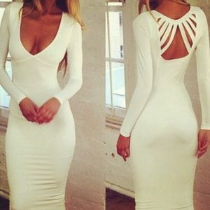 WHITE BODYCON DRESS WITH BACK CUTOUTS