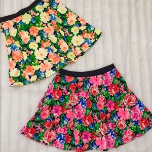 BUNDLE!! 2 floral mini flair skirts Sz S