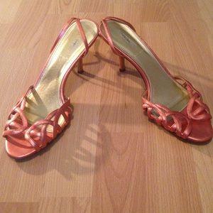 JCrew Orange Metallic mid heel Sz 7