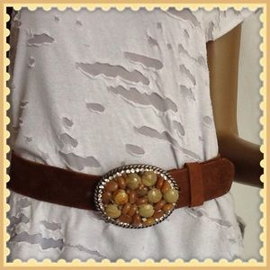 Accessories - Brown Leather belt with stones and crystals❤️SALE