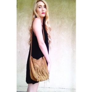 Brown Lucky Brand leather fringe crossbody bag