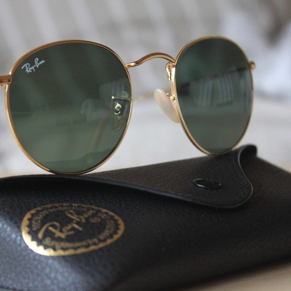 ray ban round metal gold