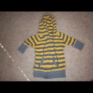 Yellow and Gray 3/4 Sleeve Hoodie