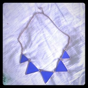 Blue triangle necklace - statement necklace