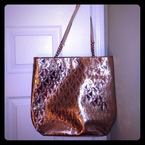 Michael Kors MK Rose Gold Mirror Metallic Tote