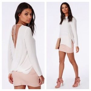 Missguided Tops - Open Back White Blouse