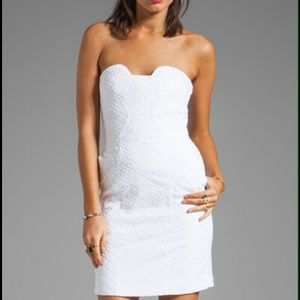 Diane Von furstenberg white strapless mini dress