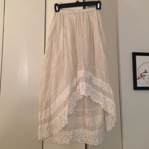 High low off white skirt