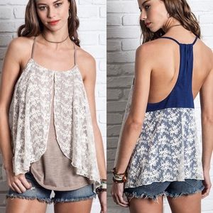  DAISY BLU butterfly top - NAVY