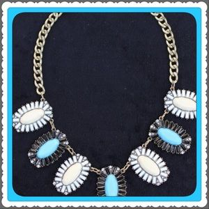 Brand New Blue & Black Statement Necklace Crystal