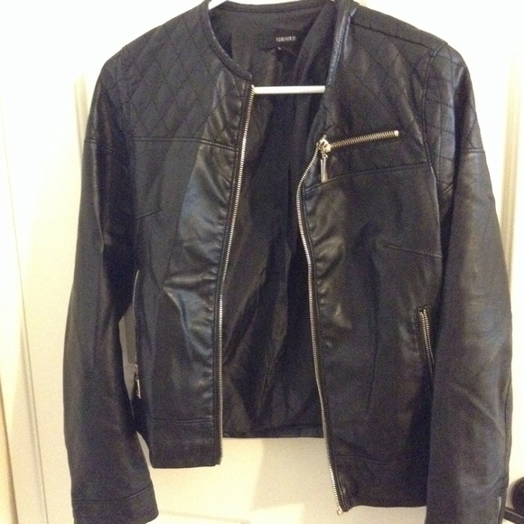 93% off Forever 21 Jackets &amp Blazers - Black Leather Jacket with
