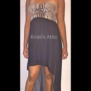 Dresses & Skirts - Animal Print  & Black High Lo Dress