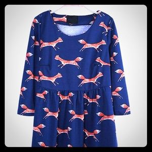 Blue fox print dress mini small Asos mod