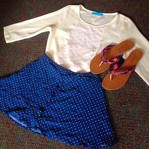 Sz 8 H&M Navy Polka Dot Mini Skirt