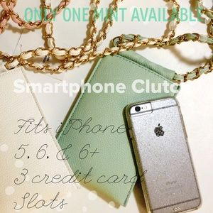Solid Chain & Faux Leather Strap Smartphone Clutch