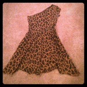 Zara Dresses & Skirts - Zara One Shoulder Cheetah Dress Sz M