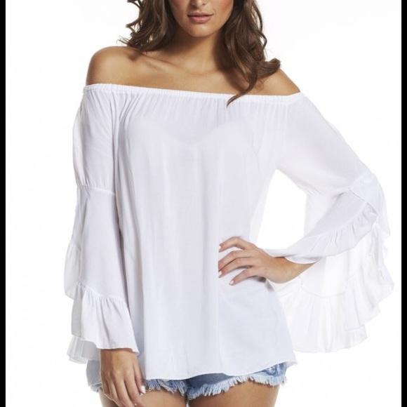 cf902b856bcea ELAN Tops - ÉLAN White off shoulder tunic blouse NWOT