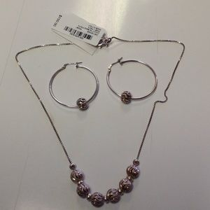 Giani Bernini necklace and hoop earring