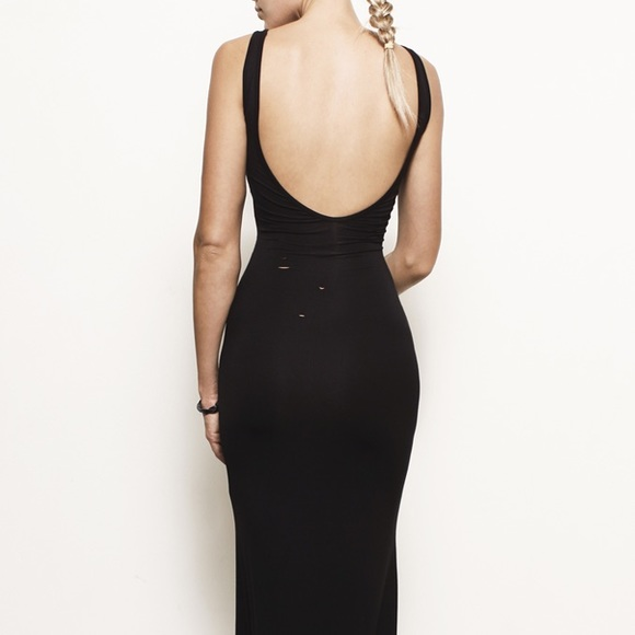 Backless jersey dress. Size: optional to order. Orders: possible to order in every size and different knitwear, time required to complete order 7 days.