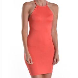 Soft coral mini dress cross back