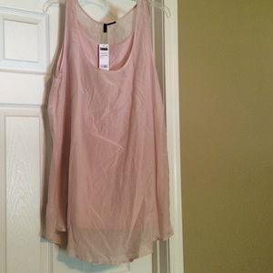 Benetton Tops - Sheer tunic top with attached tank underneath