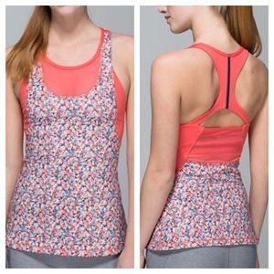 {lululemon} Flower Mesh With Me Tank