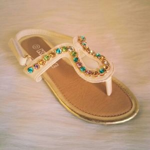 Shoes - White Color Stone Sandals