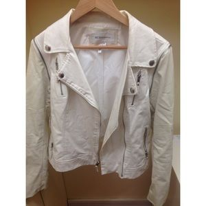 BCBGeneration Jackets & Blazers - White Leather Biker Jacket