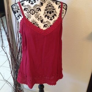 Faded Glory Tops - Crinkled cotton & lace trim camisole