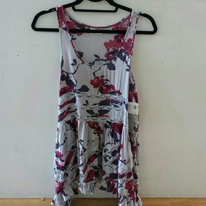 Free people floral print trapeze slip dress