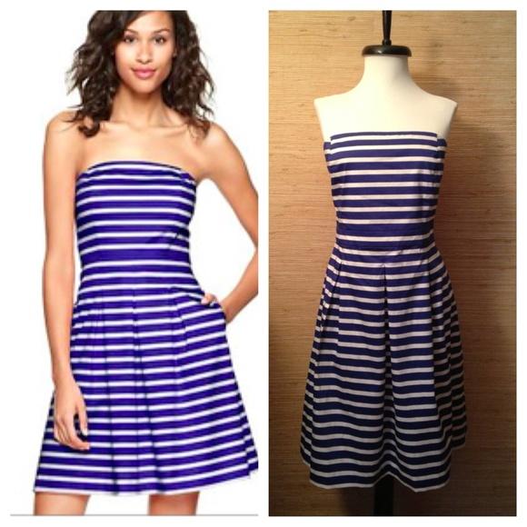 b5d9bb8ead32 GAP Dresses | Blue White Stripe Strapless Dress W Pockets | Poshmark