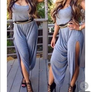 Other - Strap Design Grey High Slit Loose Jumpsuit