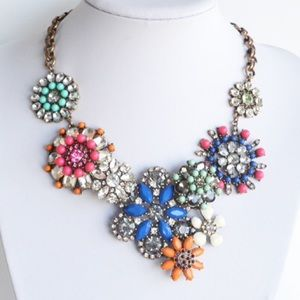 Colorful Flower Lattice Statement Necklace
