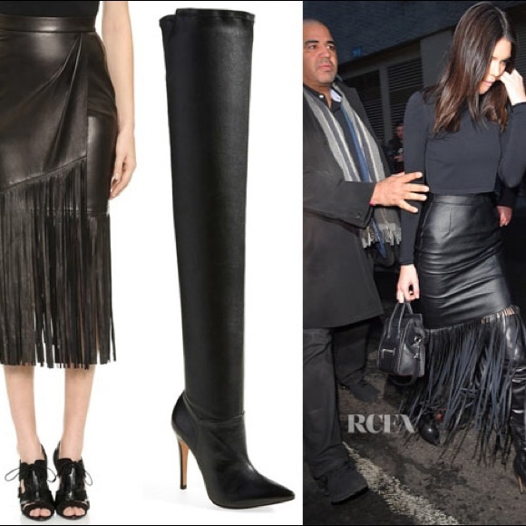 94% off Fringe Dresses & Skirts - Black Faux Leather Fringe Skirt ...