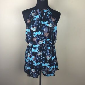 Dresses & Skirts - ⚡️FLASH SALE⚡️Black and Blue Floral Romper