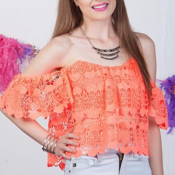 c20a1d95ef73f Neon hot pink crochet lace off shoulder top size