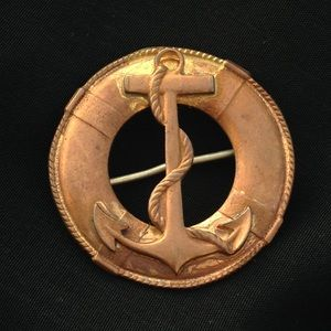 Vintage copper brass anchor nautical brooch pin
